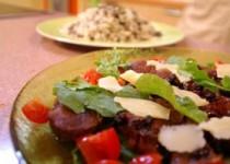 Ψαρονέφρι με balsamico και άγριο ρύζι με σταφίδες και μανιτάρια