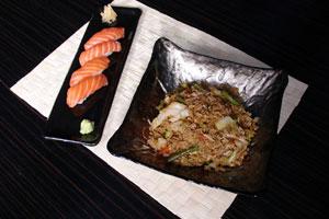 Nigiri sushi και ρύζι τηγανητό