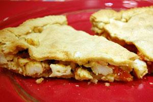 Πίτα με γαρίδες, ντοματίνια και μαστέλο Χίου