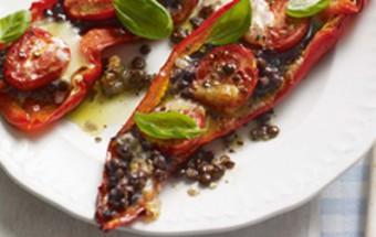 Ψητές πιπεριές με φακές και λαχανικά